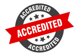 accredited sign. accredited black-red round ribbon sticker